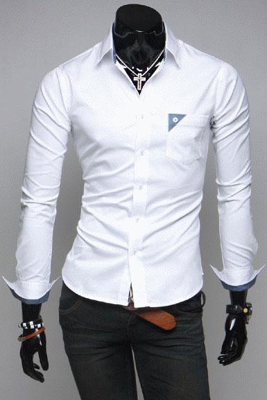 fa23c9fc82c Белая мужская рубашка с воротником стойкой T.S Justin - 1430 руб ...