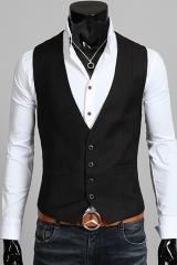 Черный классический мужской жилет