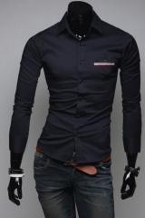 Черная стильная мужская рубашка T.S Justin
