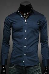 Приталенная темно-синяя рубашка Essence