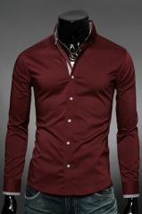 Темно-красная приталенная рубашка Essence