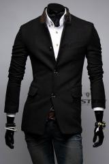 Черное пальто с воротником-стойкой A.C. Justin