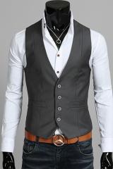 Серый классический мужской жилет