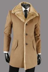 Коричневое мужское пальто кашемировое Le Gen