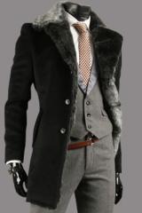 Кашемировое мужское черное пальто