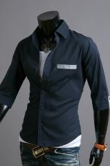 Темная рубашка Cleverley – короткий рукав