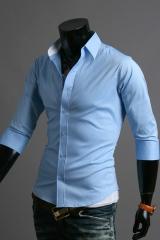 Голубая мужская рубашка с коротким рукавом Cleverley