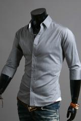 Серая рубашка с коротким рукавом мужская Cleverley