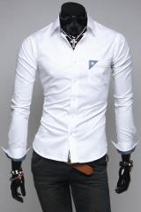 Белая мужская рубашка с воротником стойкой T.S Justin