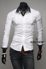 Белая рубашка с черным воротником T.S Justin
