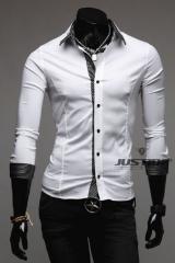 Белая рубашка с темными манжетами T.S Justin