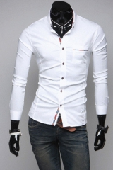 Мужская белая рубашка с триколором T.S Justin