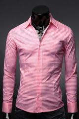 Классическая мужская рубашка розовая в клетку