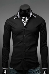 Черная рубашка приталенная мужская