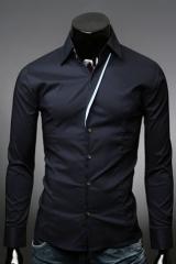 Темная приталенная рубашка для мужчин