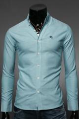 Голубая мужская рубашка приталенная