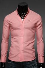 Приталенная мужская рубашка розовая Essence