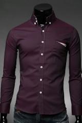 Приталенная бордовая рубашка Essence