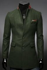 Стильное пальто для мужчин темно-зеленого цвета A.C. Justin