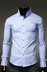 Приталенная мужская голубая рубашка Essence